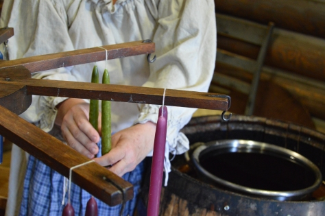 During the process of dipping candles were hung on a rack until cool enough for the next dip.