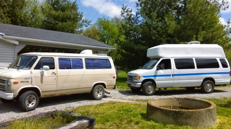 "The old '87 Chevy G30 that has served us well and the ""new"" 2002 Ford E350 we're moving into."