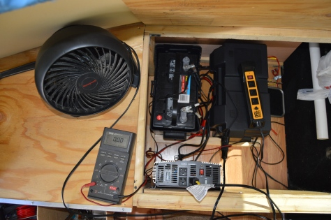 "Amid the installation clutter is a 2000watt low cost inverter from Harbor Freight and a smaller ""plug-in"" 150watt inverter."
