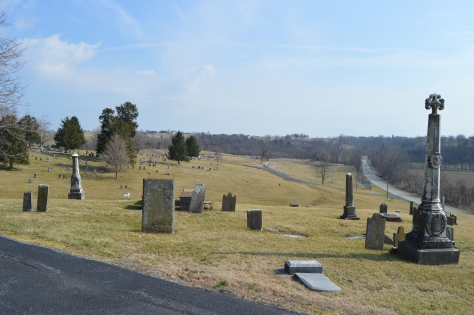 This view is overlooking the hillside in front of the church. The original cemetery where parishioners were buried was the hillside near the original church building.