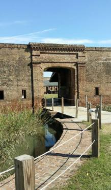 Entrance drawbridge and moat.